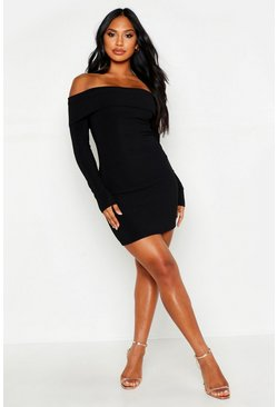 Womens Black Scuba Rib Double Layer Bardot Mini Dress
