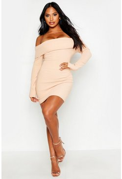 Womens Nude Scuba Rib Double Layer Bardot Mini Dress