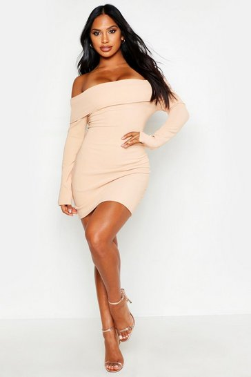 Nude Scuba Rib Double Layer Bardot Mini Dress
