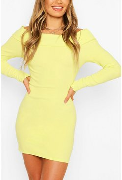 Washed lime Scuba Rib Double Layer Bardot Mini Dress