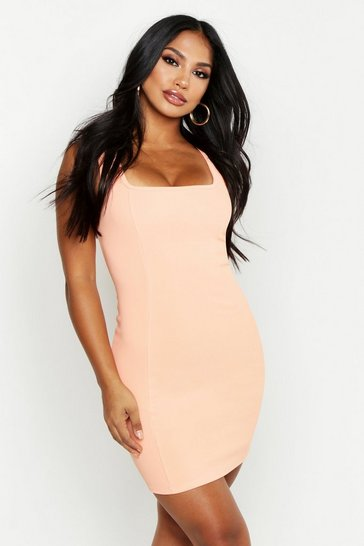 Womens Coral Scuba Rib Square Neck Bodycon Mini Dress