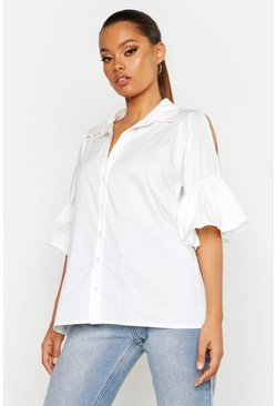 Womens White Poplin Cold Shoulder Ruffle Shirt