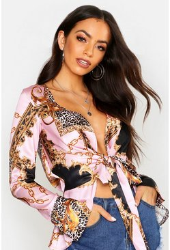 Womens Pink Satin Chain Print Tie Front Top