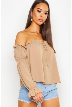 Womens Camel Ruffle Cold Shoulder Top