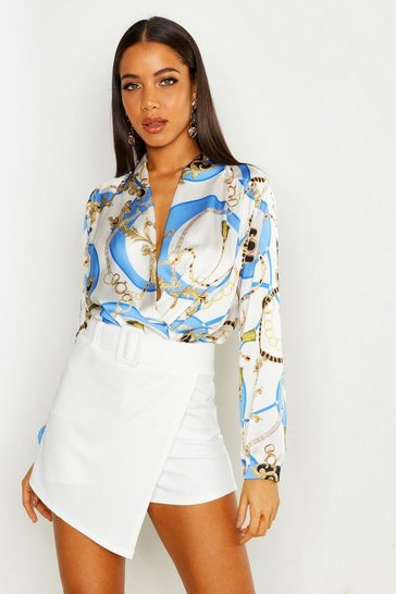 Womens White Chain Print Woven Bodysuit