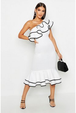 White One Shoulder Contrast Frill Hem Midi Dress
