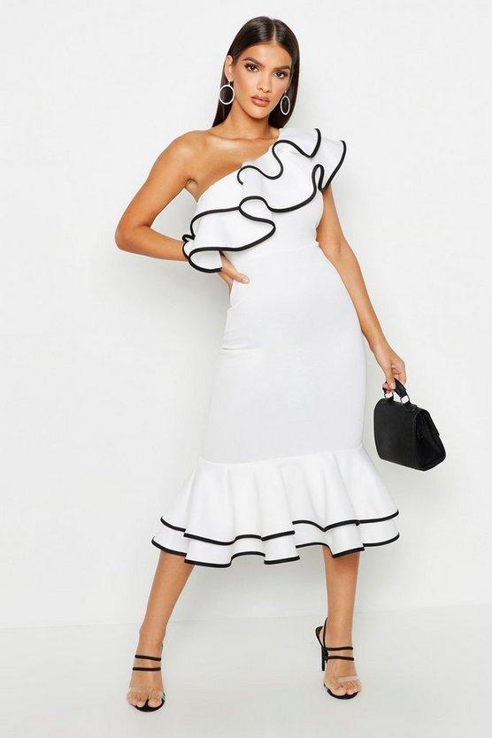 One Shoulder Contrast Frill Hem Midi Dress by Boohoo