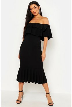 Womens Black Off The Shoulder Double Frill Midi Dress