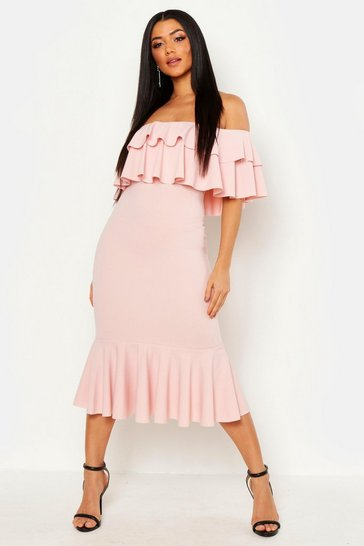 Womens Blush Off The Shoulder Double Frill Midi Dress
