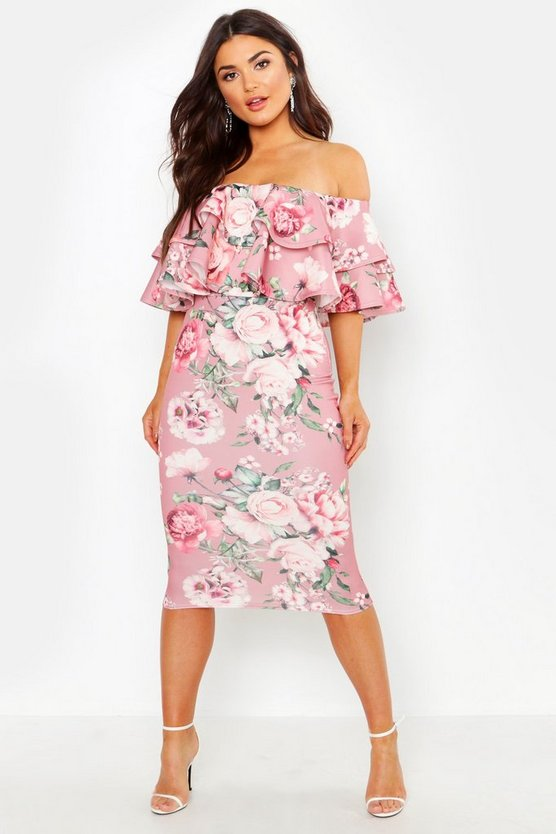 Womens Nude Off The Shoulder Ruffle Midi Dress