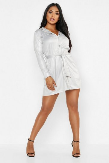 Womens Grey PU Oversized Tie Waist Shirt Dress
