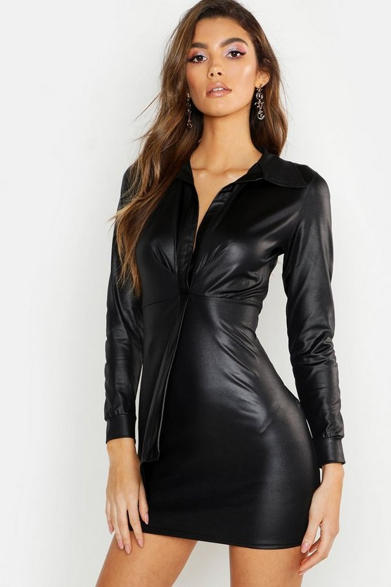 Black PU Wrap Over Mini Dress