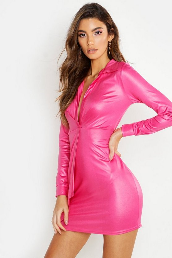 Womens Hot pink PU Wrap Over Mini Dress