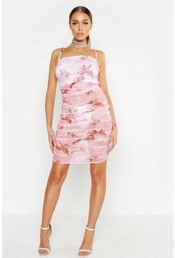 Dam Pink Ruched Mesh Cherrub Print Mini Dress