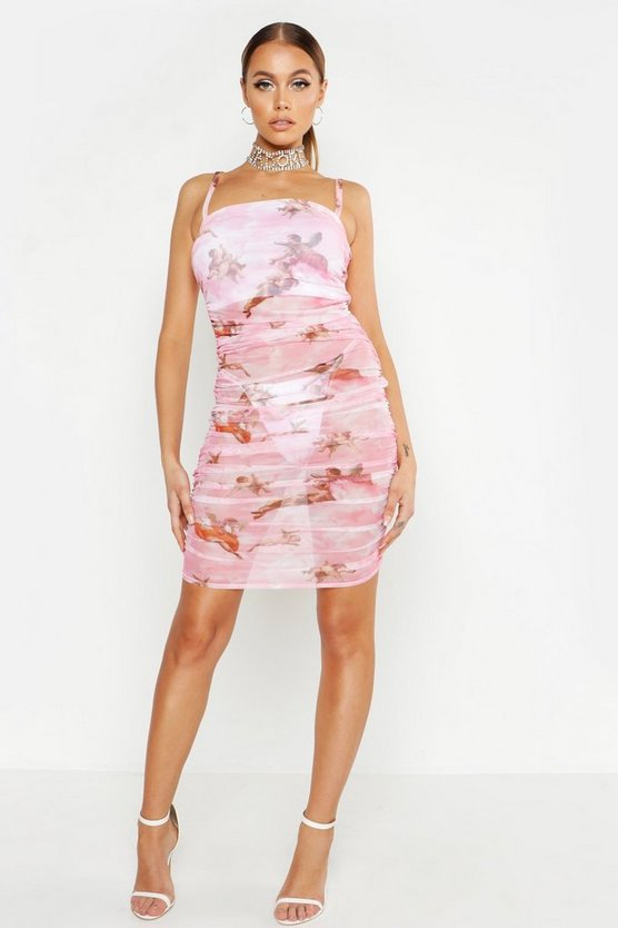 Womens Pink Ruched Mesh Cherrub Print Mini Dress