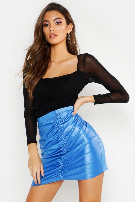 Womens Azure PU Ruched Side Mini Skirt