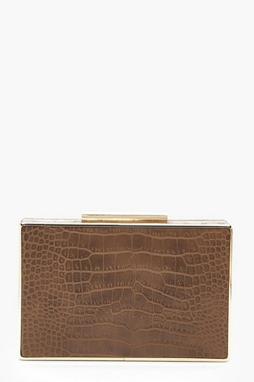 Womens Brown All Over Faux Croc Box Clutch Bag