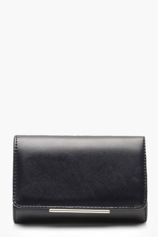 Womens Black Structured Clutch And Chain