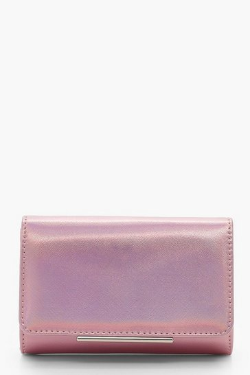 Womens Pink Structured Clutch Bag & Chain