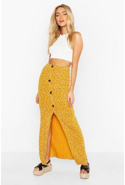Mustard Floral Ditsy Button Through Skirt