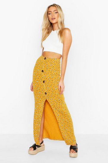 Womens Mustard Floral Ditsy Button Through Skirt