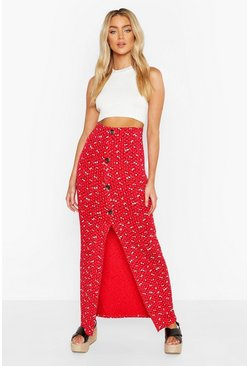 Red Floral Ditsy Button Through Skirt