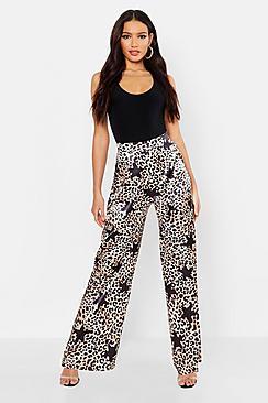Satin Leopard Star Print Wide Leg Trousers