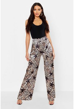 Womens Black Satin Leopard Star Print Wide Leg Trousers