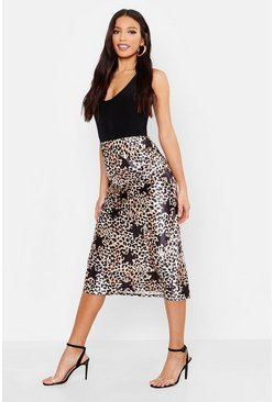 Womens Black Satin Leopard Star Print Bias Cut Midi Skirt