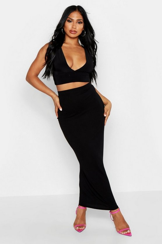 Womens Basic Black Jersey Tube Maxi Skirt