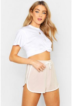 Womens Ecru Contrast Trim Runner Shorts