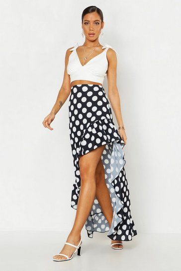 Womens Black Polka Dot Ruffle Hem Midaxi Skirt