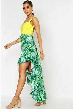 Womens Green Leopard Palm Mix Print Ruffle Hem Midaxi Skirt
