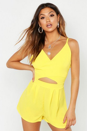 Womens Yellow Cut Work Woven Playsuit