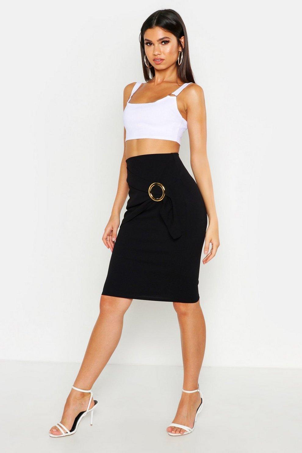 d761d3145d Womens Black Draped O-Ring Midaxi Skirt