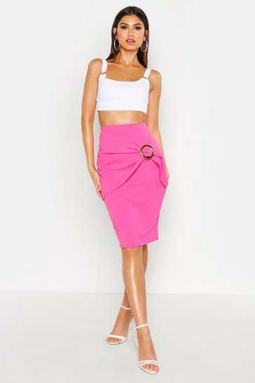 Womens Pink Draped O-Ring Midaxi Skirt