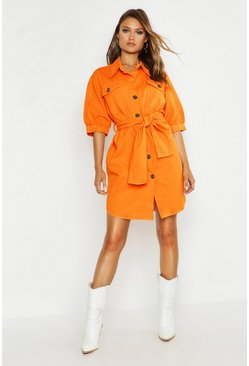 Womens Apricot Balloon Sleeve Denim Belted Dress
