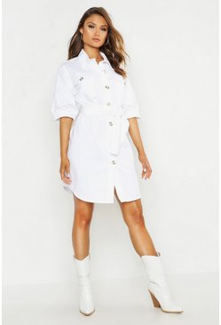 Womens White Balloon Sleeve Denim Belted Dress