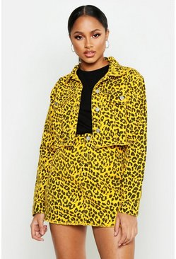 Womens Bright yellow Leopard Denim Cropped Jacket