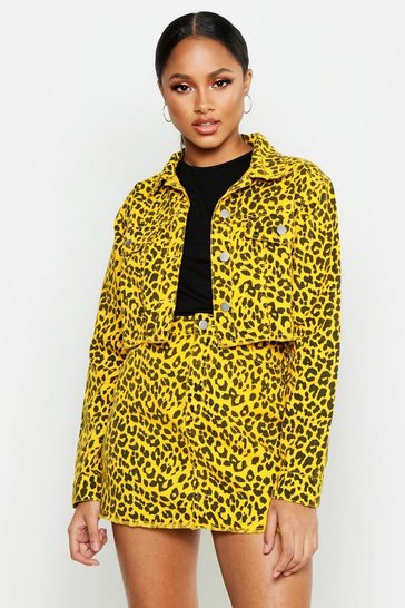 Bright yellow Leopard Denim Cropped Jacket