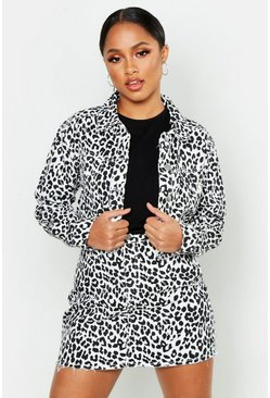 Womens White Leopard Denim Cropped Jacket