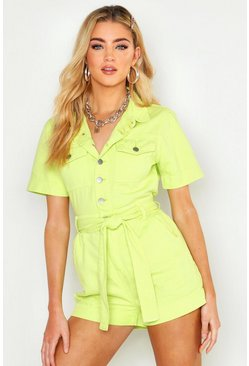 Womens Soft lime Tie Waist Denim Playsuit