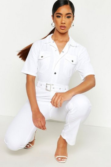 Womens White Denim Utility Boilersuit