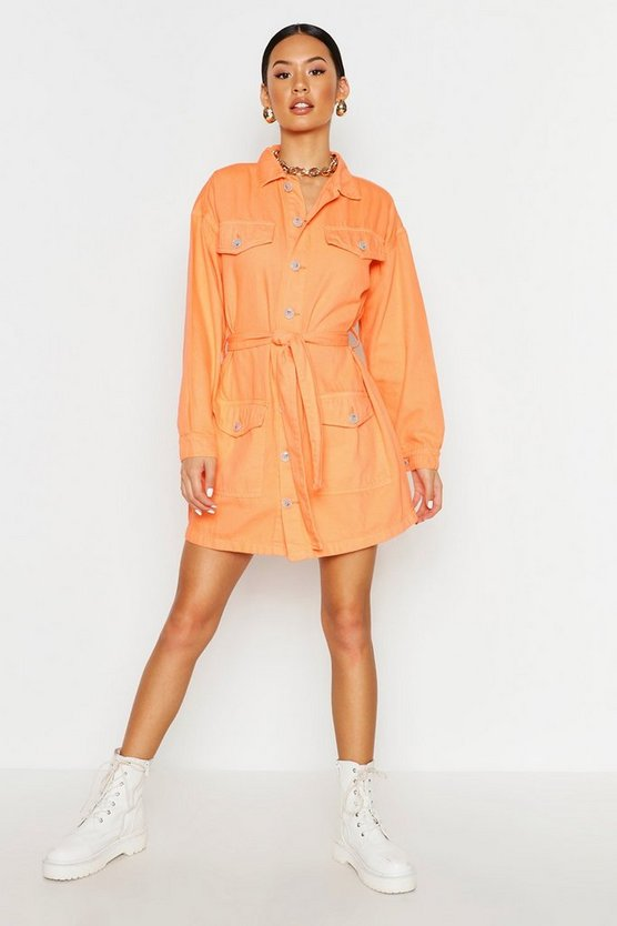 Coral Tie Waist Utility Pocket Denim Dress