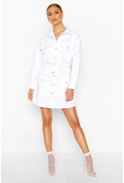 Dam White Tie Waist Utility Pocket Denim Dress