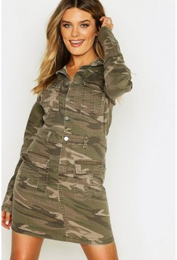 Womens Camo Utility Denim Dress