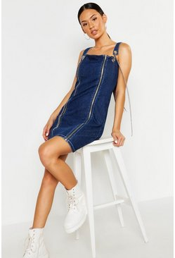 Womens Mid blue Chain Detail Mini Dress
