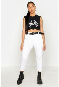 White High Waisted Contrast Belt Utility Jeans