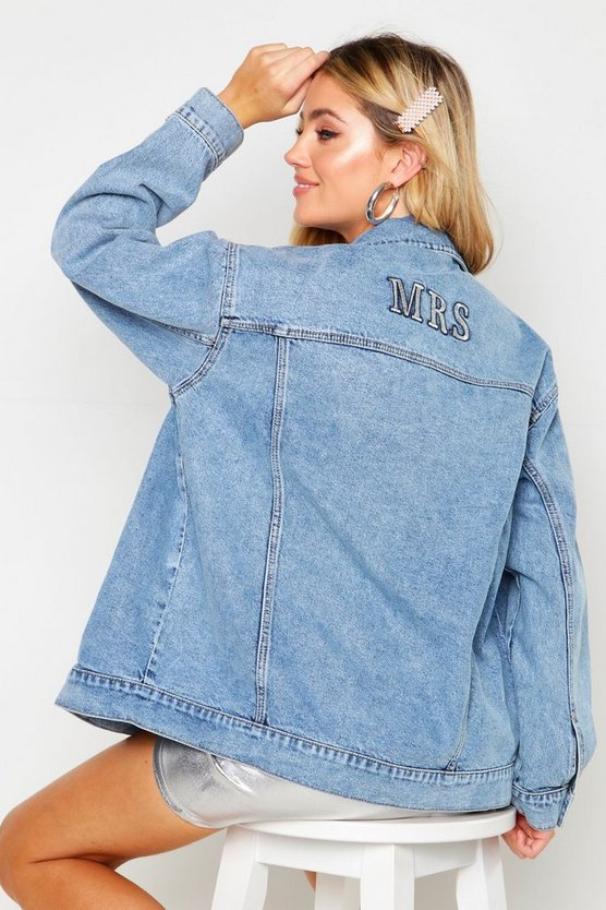 Womens Mid blue 'Mrs' Oversized Denim Jacket