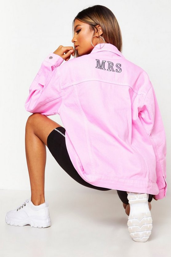 Womens Pale pink 'Mrs' Oversized Denim Jacket